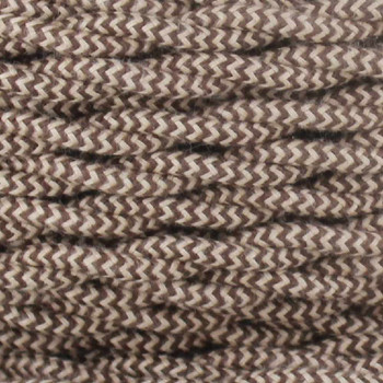 18/2 Twisted Beige/Brown Zig-Zag Pattern Cotton Cloth Covered Wire