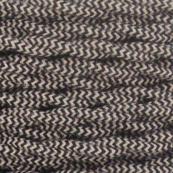 18/2 Twisted Black/Beige Zig-Zag Pattern Cotton Cloth Covered Wire