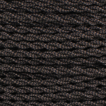18/2 AWG SPT-1 Type - Black/Brown Zig Zag Pattern - UL Recognized Cloth Covered Twisted Wire.