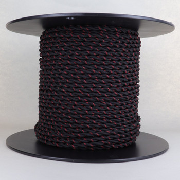 18/2 AWG SPT-1 Type - Black With Red Tracer - UL Recognized Cloth Covered Twisted Wire.