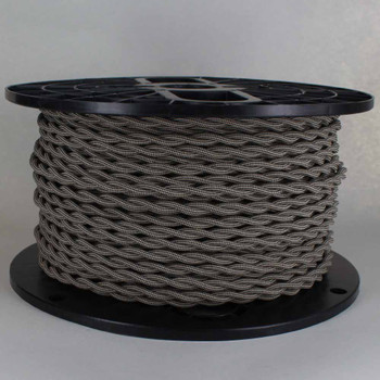 18/2 AWG - SPT-1 BLACK/BEIGE DIAMOND PATTERN TWISTED FABRIC CLOTH COVERED LAMP WIRE