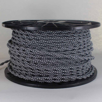 18/2 AWG - WHITE/BLACK HOUNDS TOOTH PATTERN TWISTED FABRIC CLOTH COVERED LAMP WIRE