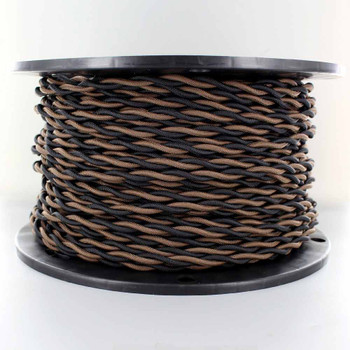 18/2 AWG - ONE BLACK/ ONE BROWN TWISTED FABRIC CLOTH COVERED LAMP WIRE