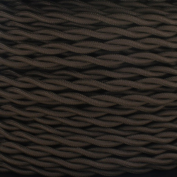 18/2 AWG - BROWN TWISTED FABRIC CLOTH COVERED LAMP WIRE