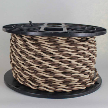 18/2 AWG - ONE BROWN/ ONE BEIGE TWISTED FABRIC CLOTH COVERED LAMP WIRE