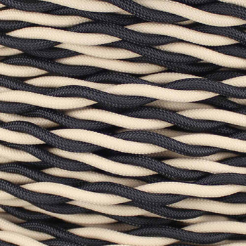 18/2 AWG - ONE BLACK/ ONE BEIGE TWISTED FABRIC CLOTH COVERED LAMP WIRE