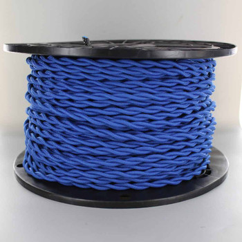18/2 AWG - BLUE TWISTED FABRIC CLOTH COVERED LAMP WIRE
