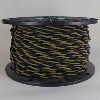 18/2 AWG - ONE BLACK/ ONE MOJAVE TWISTED FABRIC CLOTH COVERED LAMP WIRE