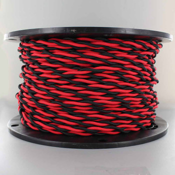 18/2 AWG - ONE BLACK/ ONE RED TWISTED FABRIC CLOTH COVERED LAMP WIRE