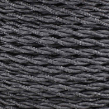 18/2 AWG - GRAY TWISTED FABRIC CLOTH COVERED LAMP WIRE