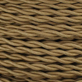 18/2 AWG - GOLD TWISTED FABRIC CLOTH COVERED LAMP WIRE