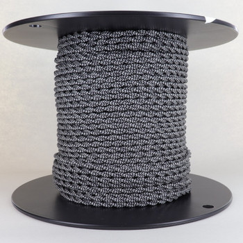 18/2 AWG SPT-1 Type - Black/Silver Zig Zag Pattern - UL Recognized Cloth Covered Twisted Wire.