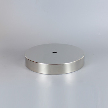 1/8ips Center Hole - 6in Flat Canopy/Base without Wire Way - Polished Nickel