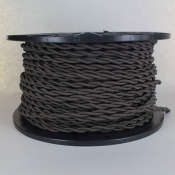 18/2 AWG - CHARCOAL TWISTED FABRIC CLOTH COVERED LAMP WIRE
