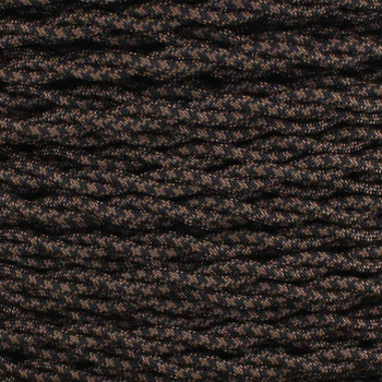 18/2 AWG - BLACK/BROWN HOUNDS TOOTH PATTERN TWISTED FABRIC CLOTH COVERED LAMP WIRE