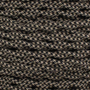 18/2 AWG - BLACK/BEIGE HOUNDSTOOTH PATTERN TWISTED FABRIC CLOTH COVERED LAMP WIRE