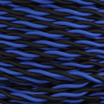 18/2 AWG - ONE BLACK/ ONE BLUE TWISTED FABRIC CLOTH COVERED LAMP WIRE