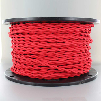 18/2 AWG - RED TWISTED FABRIC CLOTH COVERED LAMP WIRE