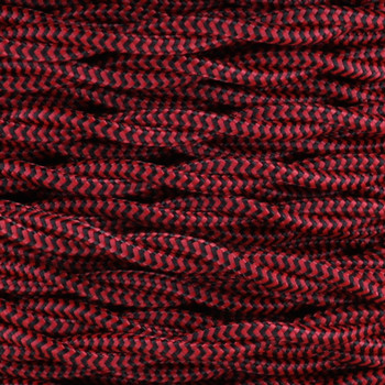 18/2 AWG - BLACK/RED ZIGZAG PATTERN TWISTED FABRIC CLOTH COVERED LAMP WIRE