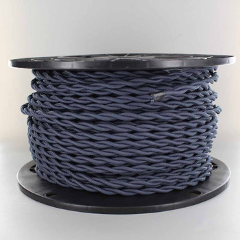 18/2 AWG - NAVY BLUE TWISTED FABRIC CLOTH COVERED LAMP WIRE