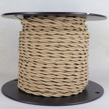 18/2 AWG - TAN TWISTED FABRIC CLOTH COVERED LAMP WIRE