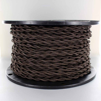 18/2 AWG - BLACK/BROWN ZIGZAG PATTERN TWISTED FABRIC CLOTH COVERED LAMP WIRE