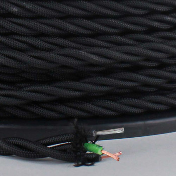 18/3 AWG - BLACK TWISTED FABRIC CLOTH COVERED LAMP WIRE