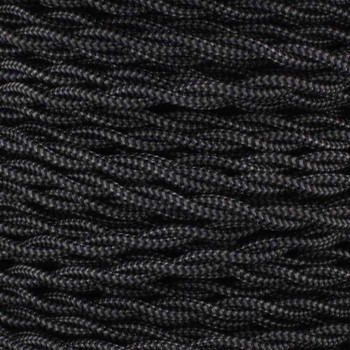 18/2 AWG - BLACK/GRAY ZIGZAG PATTERN TWISTED FABRIC CLOTH COVERED LAMP WIRE