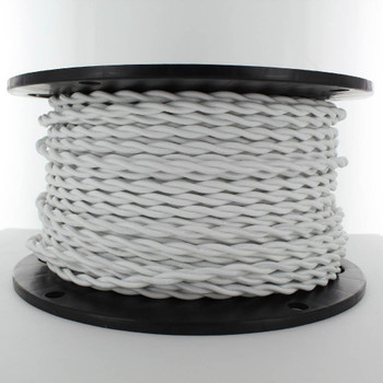 18/2 AWG - WHITE TWISTED FABRIC CLOTH COVERED LAMP WIRE