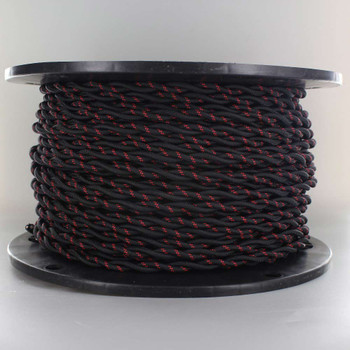 18/2 AWG - BLACK WITH RED TRACER TWISTED FABRIC CLOTH COVERED LAMP WIRE