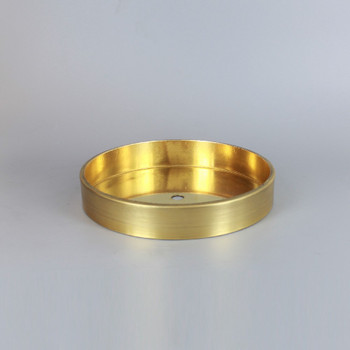 1/8ips Center Hole - 6in Flat Canopy/Base without Wire Way - Unfinished Brass