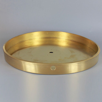 10in Diameter Flat Base with Wire Way - Unfinished Brass