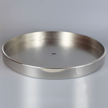 1/8ips Center Hole - 10in Flat Canopy/Base without Wire Way - Polished Nickel