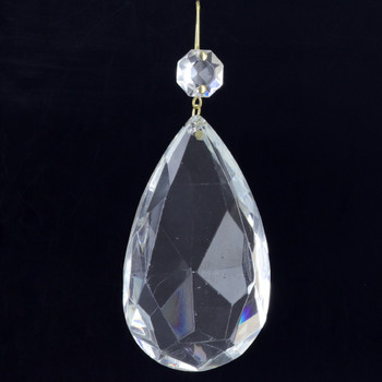 75mm (3in.) Crystal Pear Drop with Jewel and Brass Clip