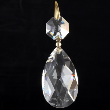 38mm (1-1/2in.) Strass Crystal Pear Drop with Jewel and Brass Clip