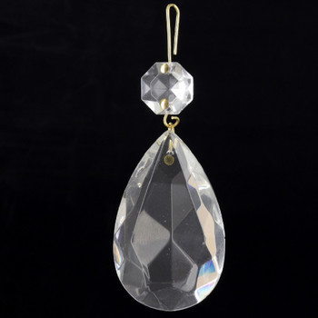 50mm (2in.) Crystal Pear Drop with Jewel and Brass Clip