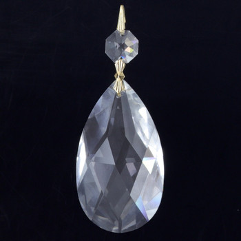 75mm (3in.) Strass Crystal Pear Drop with Jewel and Brass Clip