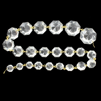24in. Crystal 23 Jewel Pressed and Faceted Graduated Chain with Brass Pins
