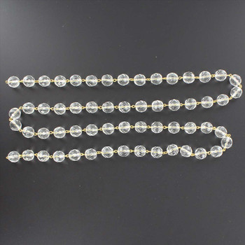 14mm. Crystal  Cut and Faceted Round Beaded with Brass Pin Chain