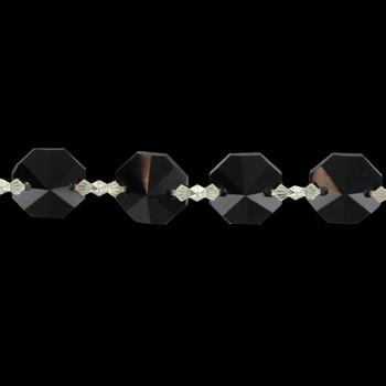 14mm. Small Uniform Black Crystal Nickel Bow-Tie Pin Chain