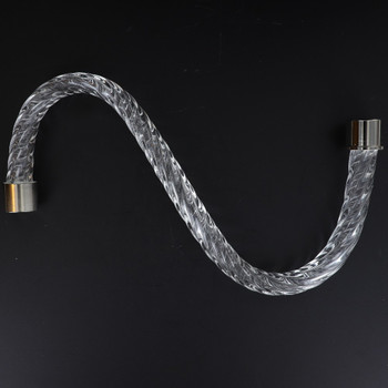 12in. Roped Crystal S-Arm with Chrome Ferrules