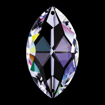 38mm. Strass Swarovski Crystal Pear Shape with 2 Pin Holes