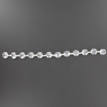14mm. Strass Lead Crystal Chain with Nickel Bowtie Clips