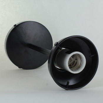 3-1/4in Fitter Pipe Pendant Fixture with 6in. Stem -  Black Powdercoat Finish