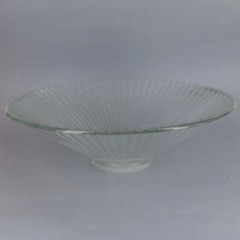 10in Diameter Clear Ribbed  glass cone shade with 1-5/8in Hole