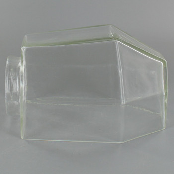 Clear Glass Flat Sided Bathroom Shade with 2-1/4in. Neck