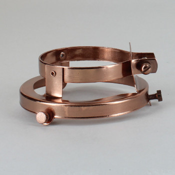 2-1/4in. POLISHED COPPER FINISH CLAMP ON HOLDER FOR PORCELAIN SOCKET WITH LIP
