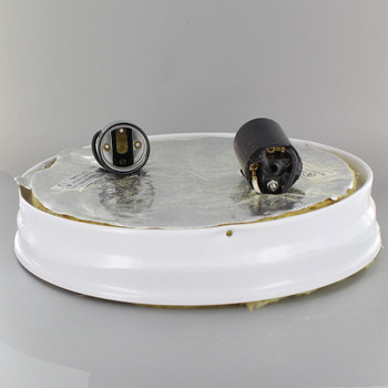 8in. Flush White Powdercoated Finish Double Socket Holder