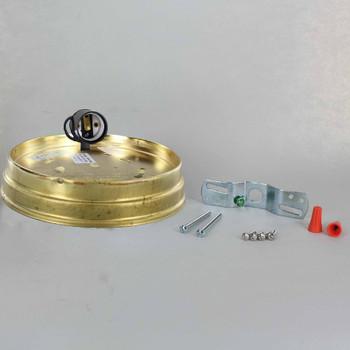 6in. Flush Unfinished Brass Single Socket Holder