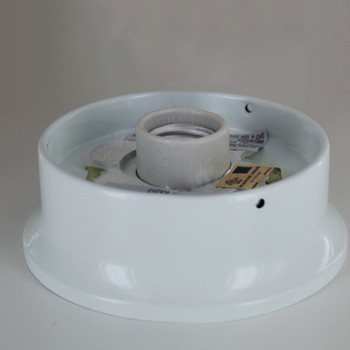 4in. Flush White Powdercoated Finish Single Socket Holder